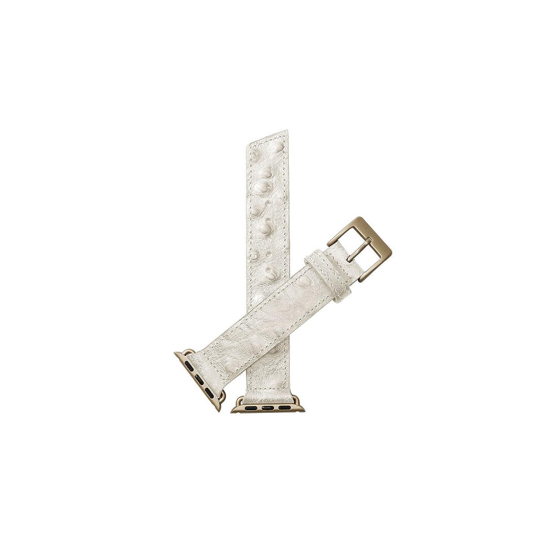 Nie Analog. Lecce Ostrich Unisex Weiß Leder Schnalle Pin