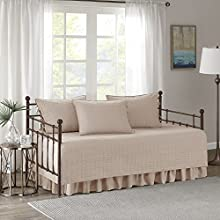 """Comfort Spaces Kienna Soft Microfiber Solid Blush Stitched Pattern 5 Piece Quilt Daybed Bedding Sets, 75""""x39"""""""