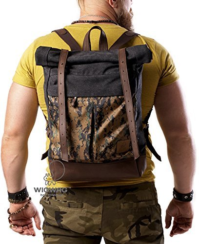 Men's camouflage backpack, army backpack, military backpack, canvas leather backpack, rolltop backpack, convertible rucksack, hipster bag