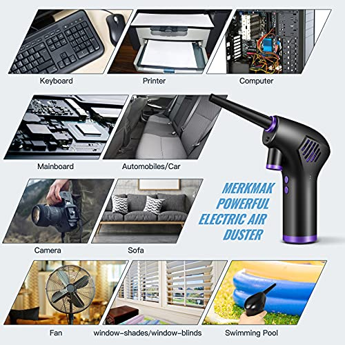 Air Duster, Merkmak Electric Cordless Air Duster for Computer Cleaning, Rechargeable 15000mAH Battery, Powerful 45000 RPM, Replaces Compressed Air Can, Handy and Efficient Cleaner with LED Light