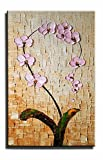 UAC WALL ARTS Blooming of life Hand-painted Abstract 3D Hand-Painted Modern Home Decoration Abstract Artwork Art 1 Panel Wood Inside Framed Hanging Vertical Wall Art For Bedroom Living Room Wall Decor