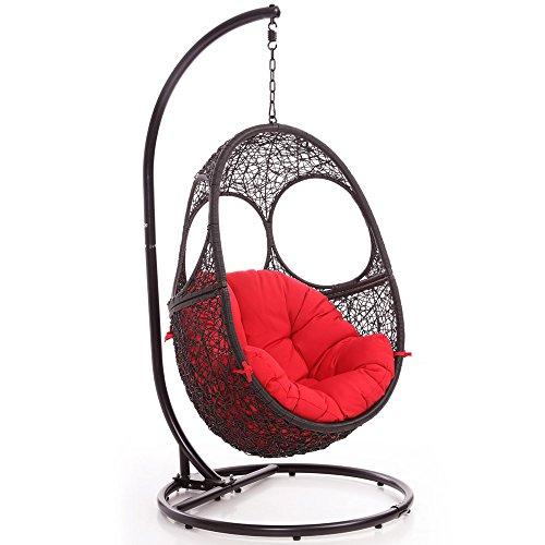 Zuri Furniture Modern Malaga Black Basket Swing Chair Red Cushion (Los Patios Malaga)