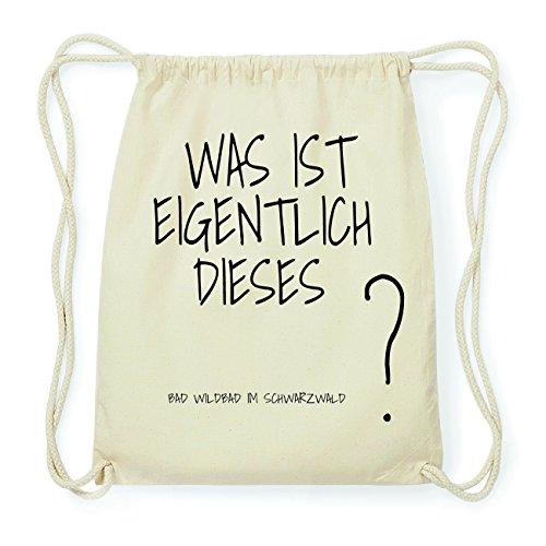 JOllify BAD WILDBAD IM SCHWARZWALD Hipster Turnbeutel Tasche Rucksack aus Baumwolle - Farbe: natur Design: Was ist eigentlich