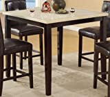 Counter Top Table Poundex Casual Styled Counter Height Table with Faux Marble Top