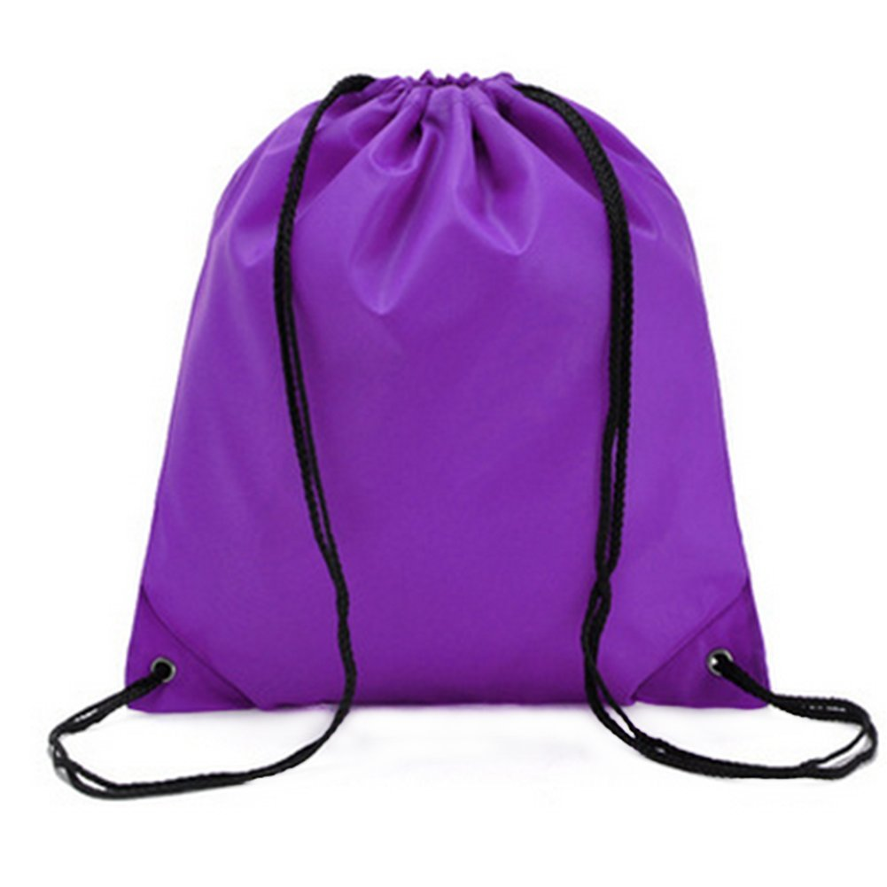 LAAT Waterproof Beach Bale Shoulder Sacks Drawstring Backpack Gym Rucksack Oxford Folding Bag for PE School Travel Sport (Purple)