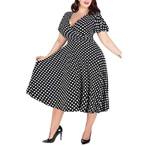 (Aurorax Mothers Day Wish List Women's Plus Size Loose Soft Dress Ladies V-Neck Short-Sleeved Polka Dot Printed Belt Casual Outdoor Beach Cool Feel Dress QAQ (Black, XL))