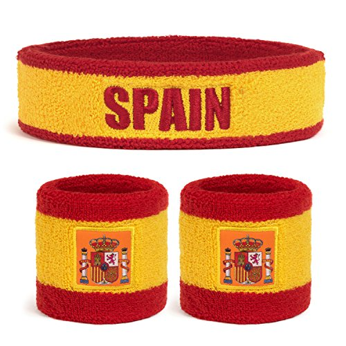 Suddora Spain Country Headband & Wristbands Set (Includes 2 Wrist & 1 Head Sweatband)