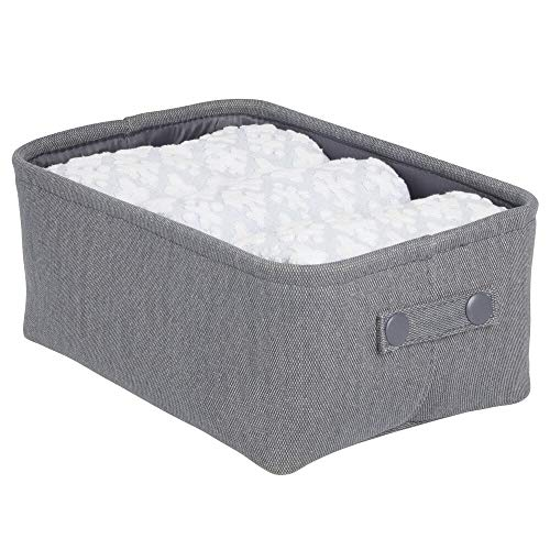 mDesign Soft Cotton Fabric Closet Storage Organizer Bin Basket with Coated Interior and Attached Carrying Handles for Bathroom Vanity, Cabinet, Shelf, Countertop - Wide - Light Gray