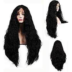 SHANDIREN Outdoor 250% High Density Synthetic Lace Front Wigs Hair Color Black Long Loose Curly American Heat Resistant Wigs 26 Inches For All Skin Women