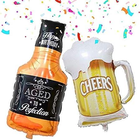 DIWULI, 2 Habitaciones del Globo del cumpleaños Feliz cumpleaños Botella de Whisky de Stein + lámina de Globo, Globo del cumpleaños, Globo de Papel Divertido, Fiesta de cumpleaños Saludos de Edad