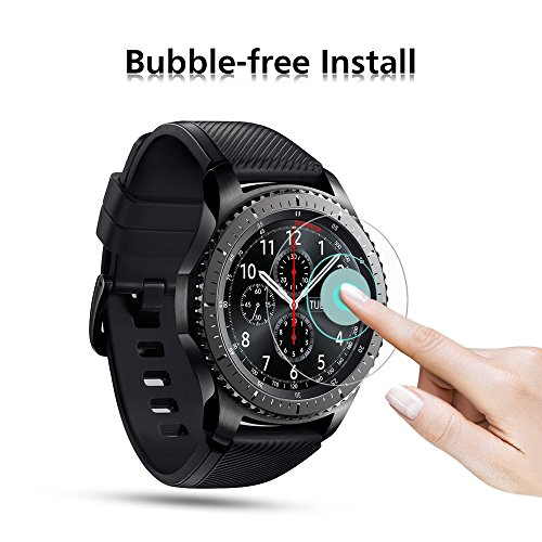 Samsung Gear S3 Screen Protector [3 Pack], OMOTON Full-Coverage Tempered Glass Screen Protector for Samsung Gear S3 with [9H Hardness] [Crystal Clear] [Scratch Resist] [Bubble Free Installation]