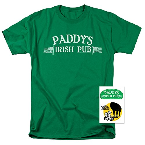It's Always Sunny In Philadelphia Paddy's Pub T Shirt & Exclusive Stickers (Large) Green ()