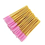 300 Pack Disposable Mascara Wands Bulk Eyelash Extension Brush Lash Wand Applicator, Gold/Pink
