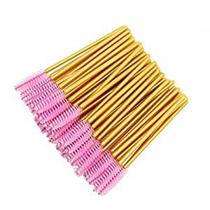 300 Pack Disposable Mascara Wands Bulk Eyelash Extension Brush Lash Wand Applicator, Gold/Pink