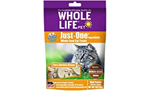 Whole Life Pet Healthy Cat Treats, Human-Grade Whole Chicken Breast, Protein Rich for Training, Picky Eaters, Digestion, Weight Control, Made in the USA, 1 Ounce
