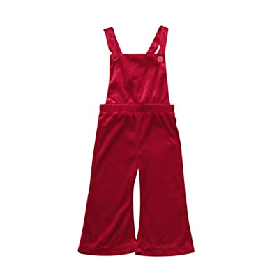 AliveGOT Toddler Baby Girls Velvet Solid Overall Kids Rompers Jumpsuit Bell-bottomed Pants Clothes