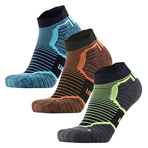 (Blister Resist Cushion No Show Running Socks for Men and Women Moisture Wicking (blue/orange/green, US Women7-10/US Men6.5-8.5))