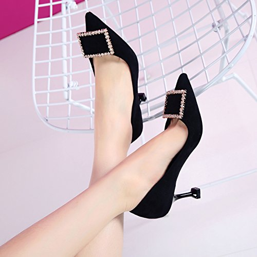HGTYU-Water Drill Party Pointed To The High Heel Shoes In The Spring And Autumn New Light Thin With Temperament Wild Black 1Q0MmZR
