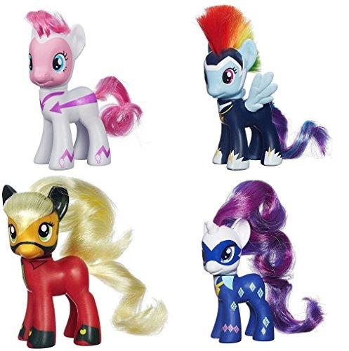Superhero My Little Pony (My Little Pony Power Ponies Fili-Second Pinkie Pie, Zapp Rainbow Dash Mistress Mare-Velous Applejack & Radiance Rarity Figure Bundle by)