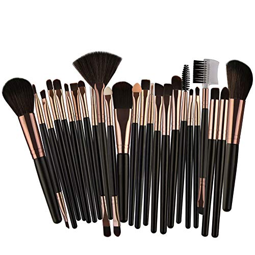 25pcs Makeup Brushes Set,Cosmetic Foundation Eyebrow Eye Professional Brushes Kit Han Shi (Black, 18x14x2cm)