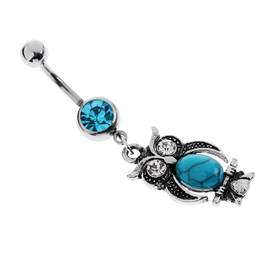 MonkeyJack 304 Stainless Steel Cute Owl Belly Bar Navel Ring Boho Turquoise Dangle Piercing Jewelry