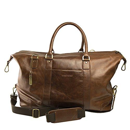 Marc Picard Leder Reisetasche, Milano Braun Leder Freizeittasche, Sporttasche, Travel Bag , Handtasche , Schultertasche 56x30x25 cm (BxHxT) Hellbraun