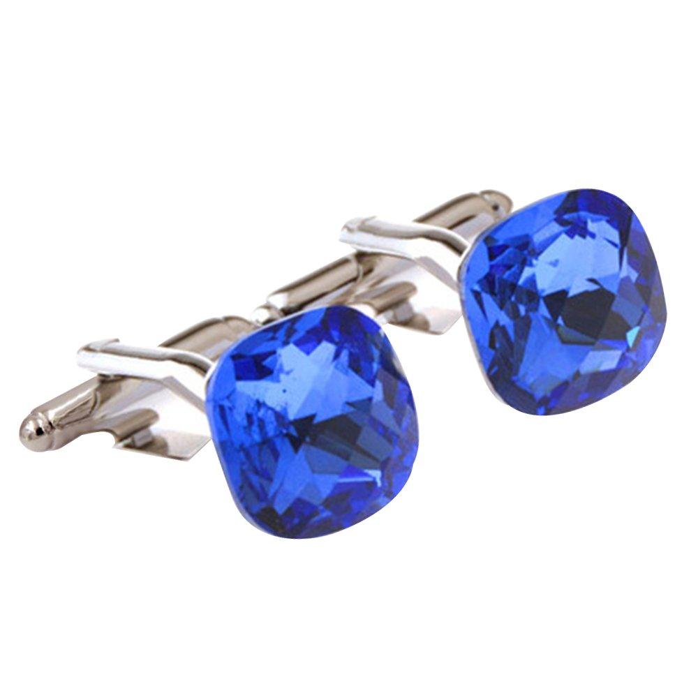 Fashion Luxury Exquisite Diamond Cut Surface Blue Crystal Cufflinks French Style Daptsy BLK.XK.05.BLUE4.YQQ