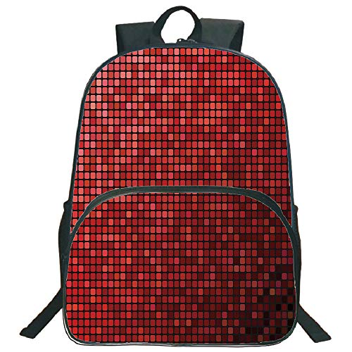 """Price comparison product image Maroon 3D Print 16"""" Backpacks, Abstract Mosaic Grid Ombre Pattern Pixels Digital Technology Themed Tile Decorative, 3th 4th 5th Grade School Bookbags Travel Laptop Daypack Bag Purse, for Kids Teens, Maroo"""