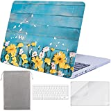 Sykiila for Older MacBook Pro 13 Inch with Retina Display Case for Model A1425 / A1502 Hard Cover 4 in 1 with HD Screen Protector & TPU Keyboard Cover & Sleeve - Floral Bule Wood