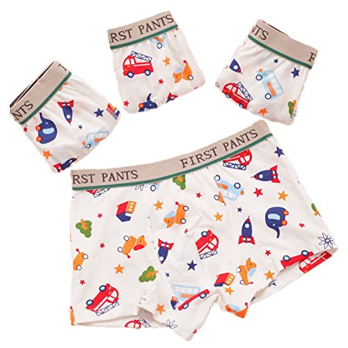 4 Assorted Prints (Little Boys Boxer Brief 4 Pack Car Print Boxers Assorted Underwear (6-8 Years, Car 1))