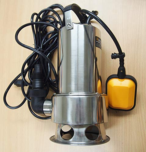 Hoteche Submersible Water Pump Stainless Steel 1HP 13000 L/H Trash Clean Water Flooding Pool Garden