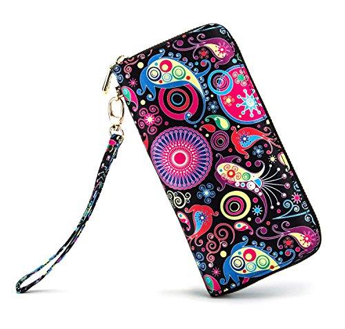 (LOVEME Women SmallFish Double Zipper Clutch Wallets)