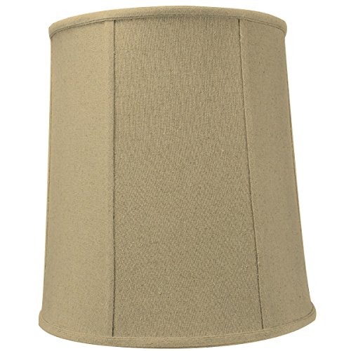 12x14x15 Sand Linen Drum Lampshade with Beige Liner with Brass Spider fitter By Home Concept - Perfect for table and Desk lamps - Medium, Tan