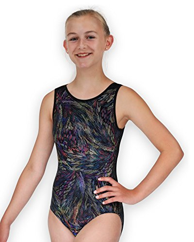 194f36a03232 Leap Gear Gymnastics Leotard - Black Velvet Feathers - C Medium