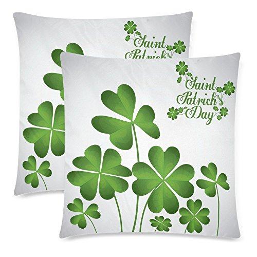 InterestPrint Saint Patrick's Day with Green Clover Throw Pillow Cover Cushion Case 18x18, Spring Irish Shamrock Zippered Pillowcase Set Shams Home Decorative, Set of 2