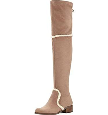 Gunter Taupe Over The Knee Stretch Microsuede shearling Trim Boot