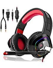Game Headset High Quality LED Switch Games Headphones Gaming PS4 Headset, Over-Ear with Mic LED Light Noise Cancelling Volume Control for Laptop Mac | Best Gift Idea by 3InDn