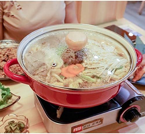 hmjsmj Épais Type Anti-déversement d'émail, Pot Chaud sur Table, Pot de Soupe, gaz de cuisinière à Induction Universel, diamètre 20cm, 15.5x1.5x7.6cm, capacité 1.7L