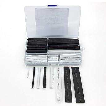 150 unidades Tubo termorretr/áctil aislante de tubo termorretr/áctil 2:1 kit de funda para cable de alambre color negro