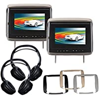 Concept BSD-705PKG1 7 Headrest (2) LCD/DVD Package with Headphones (2)