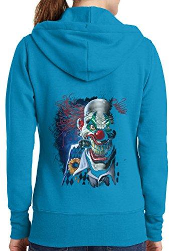 Womens Joker Clown Full Zip Hoodie, Neon Blue, 4X