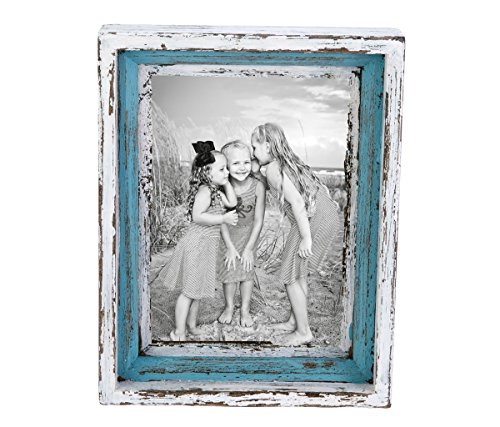 Mozlly Multipack - Beachcombers Coastal Life Antique Blue and White 5x7 Photo Frame - Distressed - Nautical, Beach, Ocean Theme - Wood - Novelty Nautical Home Decor (Pack of 3)
