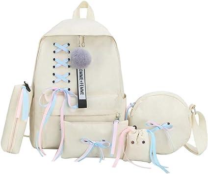 Haobing Backpack Mochilas Escolares 5 Piezas Mujeres Niñas Casual Daypack Bolso Bandolera Estuche Clutch y Pequeña Bolsa (Blanco): Amazon.es: Equipaje