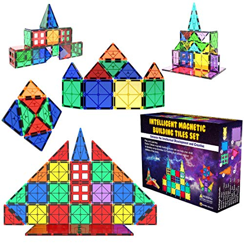 Desire Deluxe Magnetic Tiles Building Blocks Construction Toys for Boys & Girls 47pc – STEM Learning Educational Toy for…