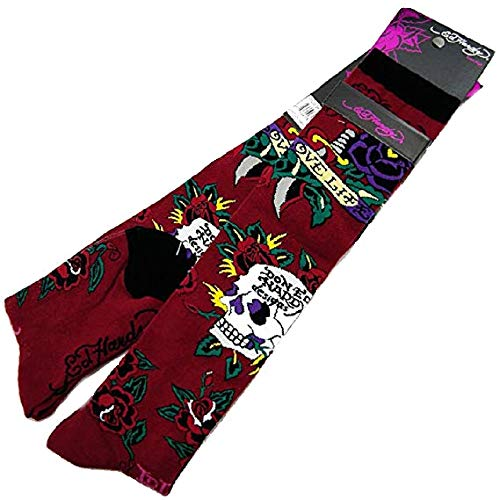 Women's Skull and Rose Knee High Socks (Ruby, OS) - Hardy Bikini Ed Women