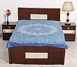 Sarjana Handicrafts Twin Size Cotton Flat Bed Sheet Star Mandala Bedspread Bedding (Blue)