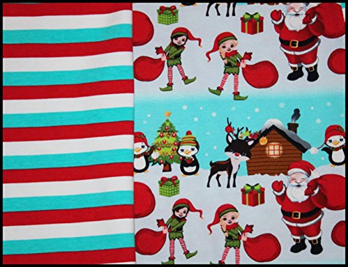 (Euro Oeko-Tex Knit Santa and Friends Design Fabric By the Yard, 92% Cotton, 8% Lycra, 60 Inches Wide, 4 Way Stretch, Medium Weight (1)
