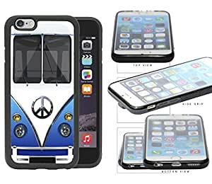 Hippie Mini Van (Blue) with Peace Sign in Center Silicone Rubber TPU Cell Phone Case Cover iPhone 6 (4.7 INCH SCREEN) by mcsharks