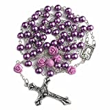 Nazareth Store Catholic Purple Pearl Beads Rosary Necklace 6pcs Our Rose Lourdes Medal & Cross NS
