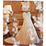 Jasminebridal Womens Sleeveless Real Picture Mermaid Wedding Dress Lace Bridal Gowns